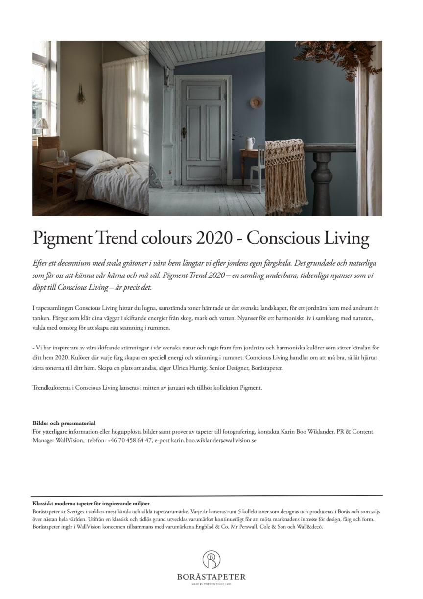 Pigment Trend colours 2020 - Conscious Living