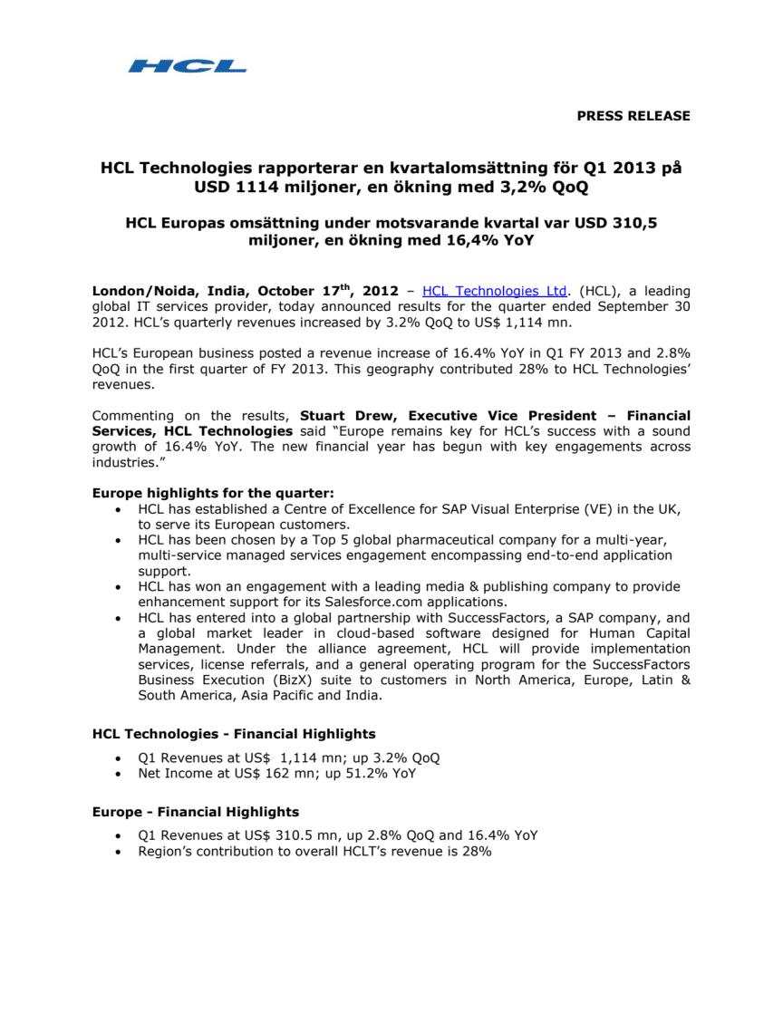 HCL Technologies rapporterar en kvartalomsättning för Q1 2013 på USD 1114 miljoner, en ökning med 3,2% QoQ