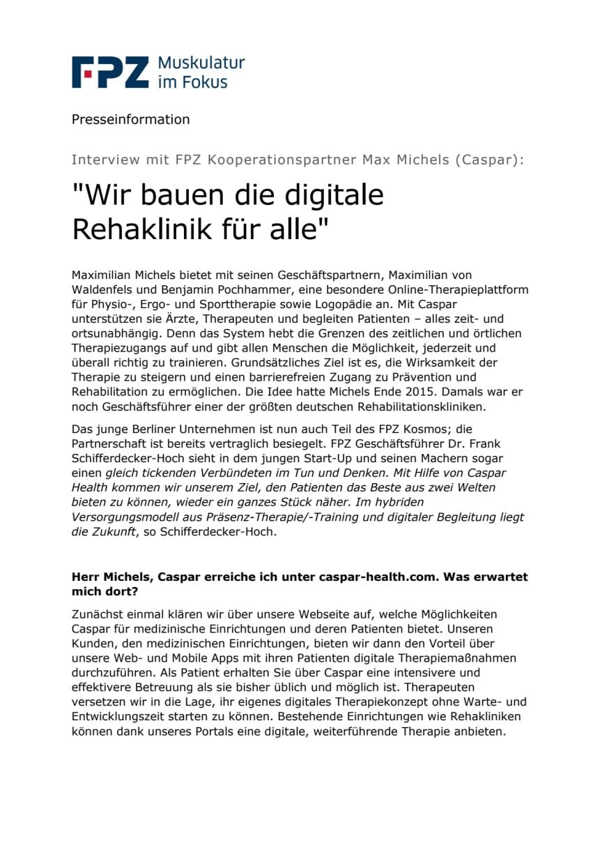 """Interview mit FPZ Kooperationspartner Max Michels (Caspar): """"Wir bauen die digitale Rehaklinik für alle"""""""
