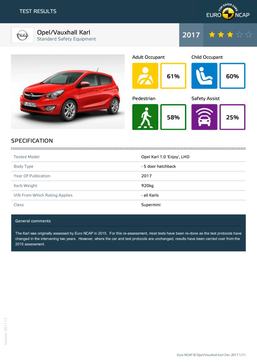 Vauxhall Karl datasheet - Dec 2017