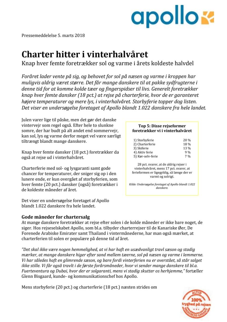 Charter hitter i vinterhalvåret