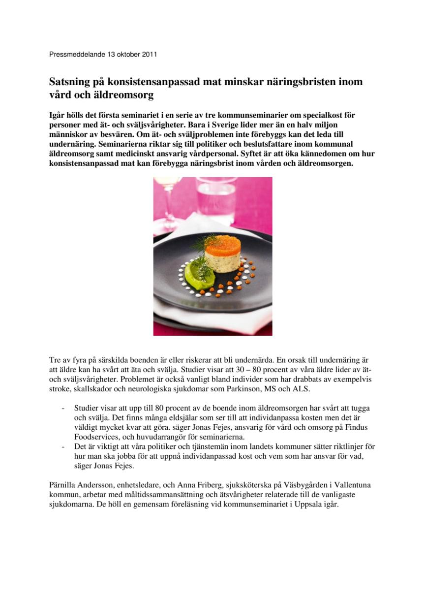 Satsning på konsistensanpassad mat minskar näringsbristen inom vård och äldreomsorg