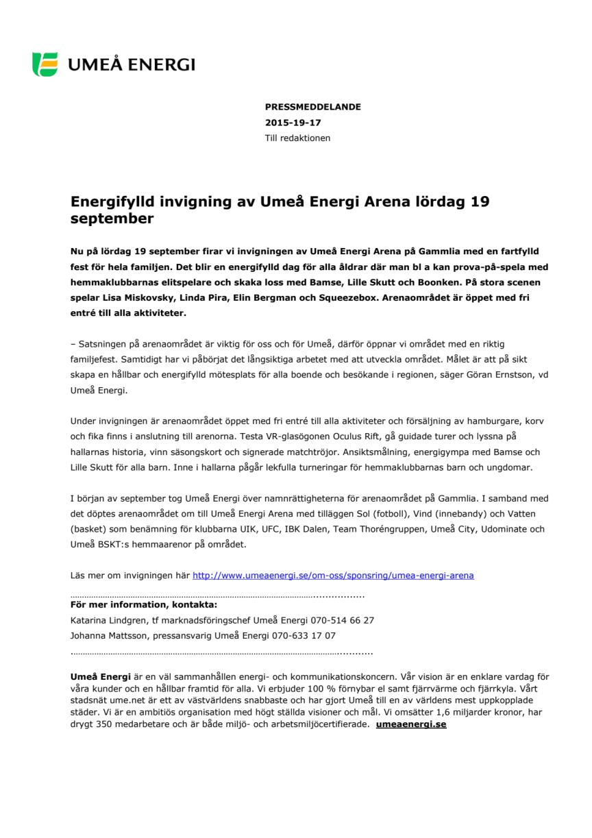 Energifylld invigning av Umeå Energi Arena lördag 19 september