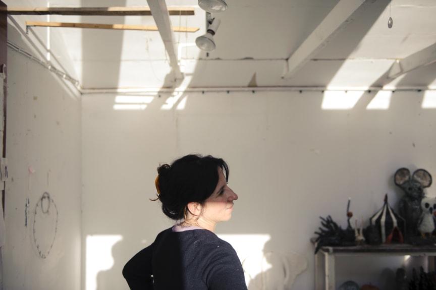 Klara Kristalova in her studio. November 2011. Photo: Olle Kirchmeier/Bonniers Konsthall.