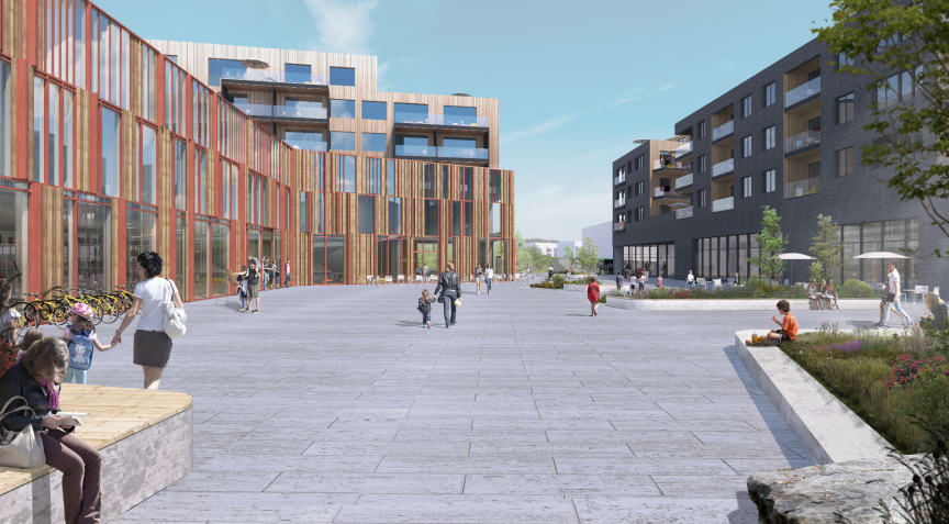 Fjerdingby sentrum illustrasjon Dyrvik Arkitekter