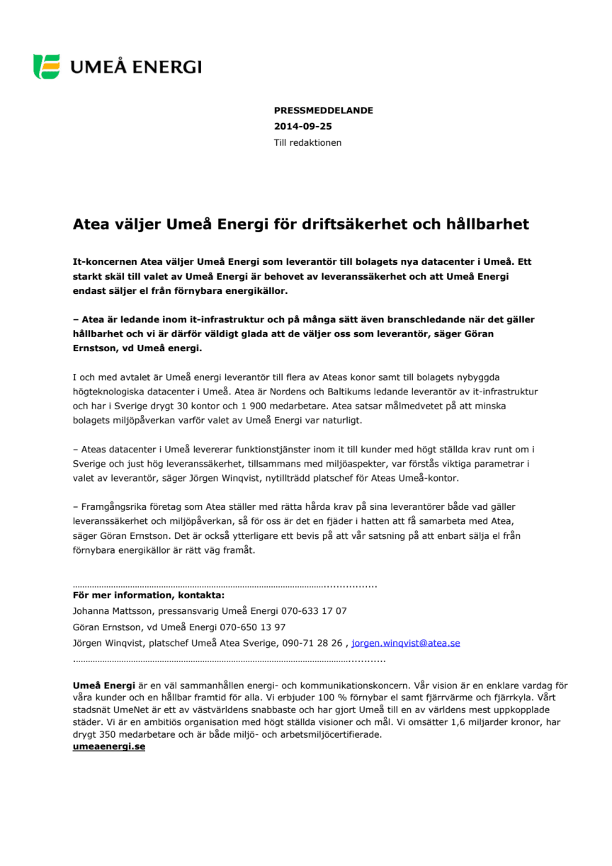 Atea väljer Umeå Energi för driftsäkerhet och hållbarhet