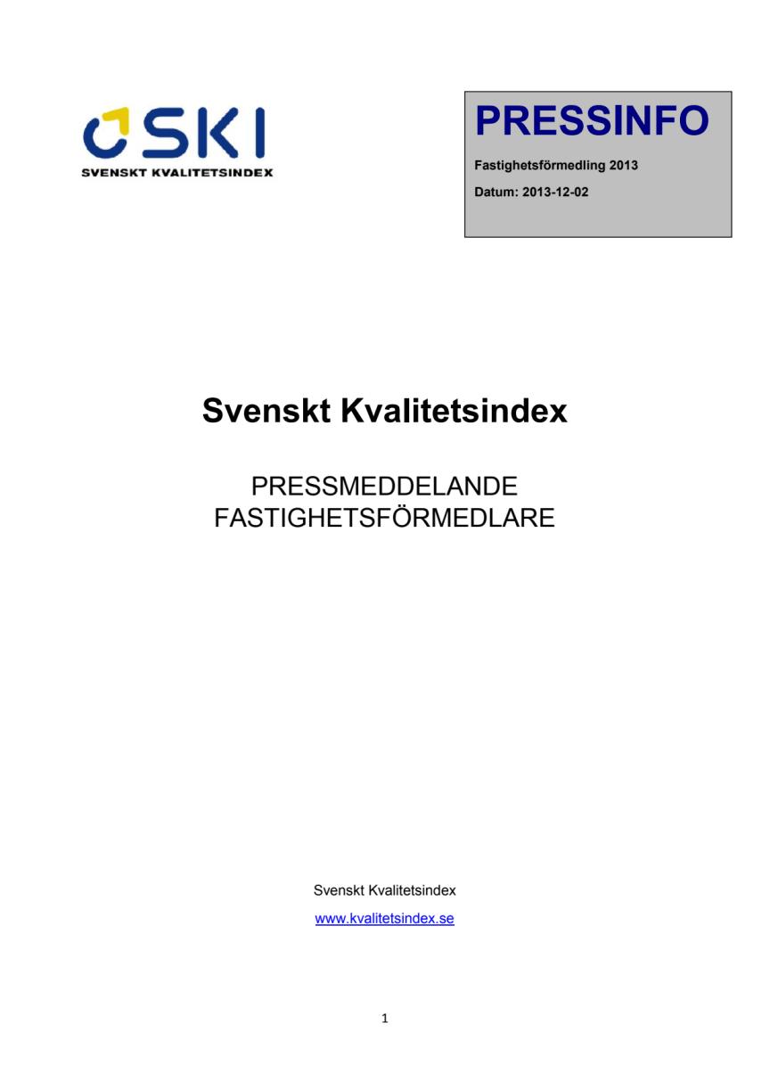 Svenskt Kvalitetsindex om Fastighetsförmedlare 2013