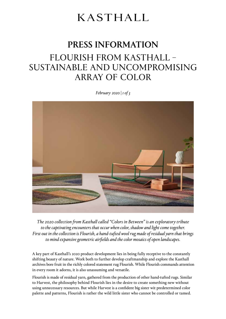 FLOURISH FROM KASTHALL – SUSTAINABLE AND UNCOMPROMISING ARRAY OF COLOR