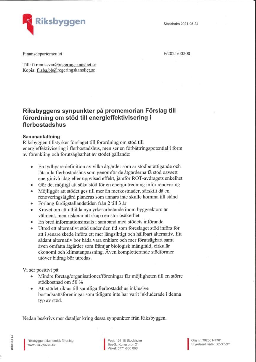 """Riksbyggens remissvar gällande """"Fi2021/00200 Förslag till förordning om stöd till energieffektivisering i flerbostadshus"""""""