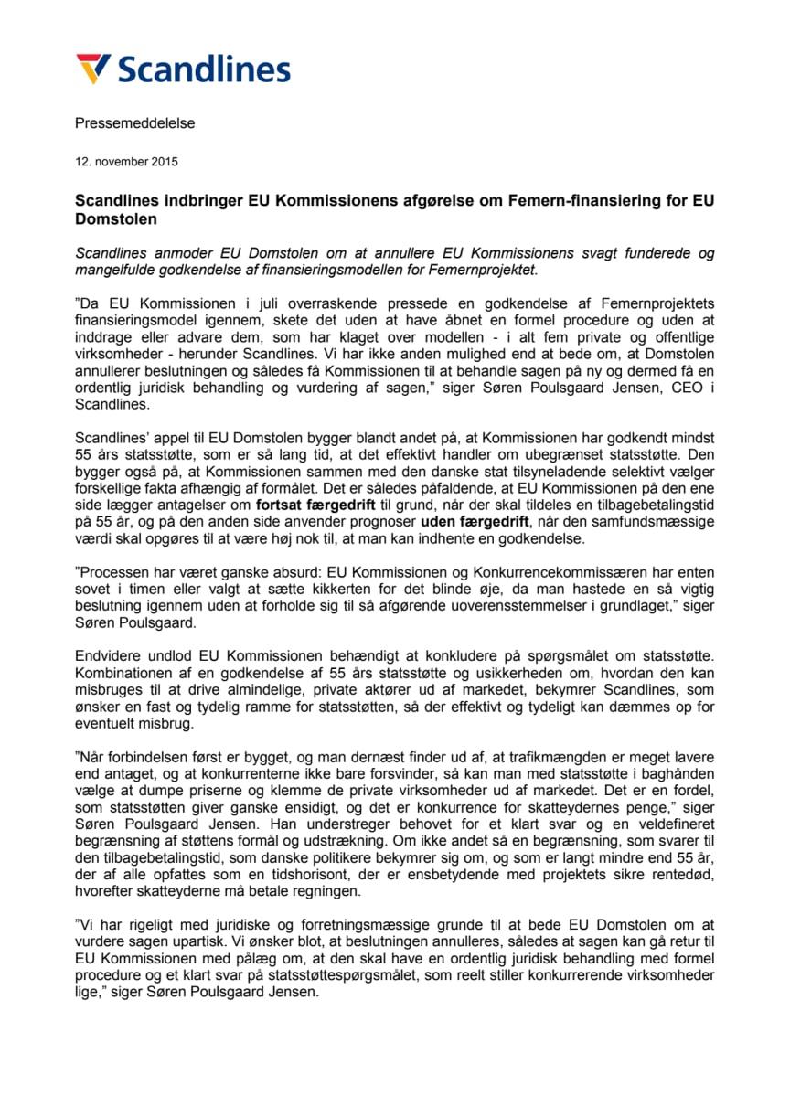 Scandlines indbringer EU Kommissionens afgørelse om Femern-finansiering for EU Domstolen