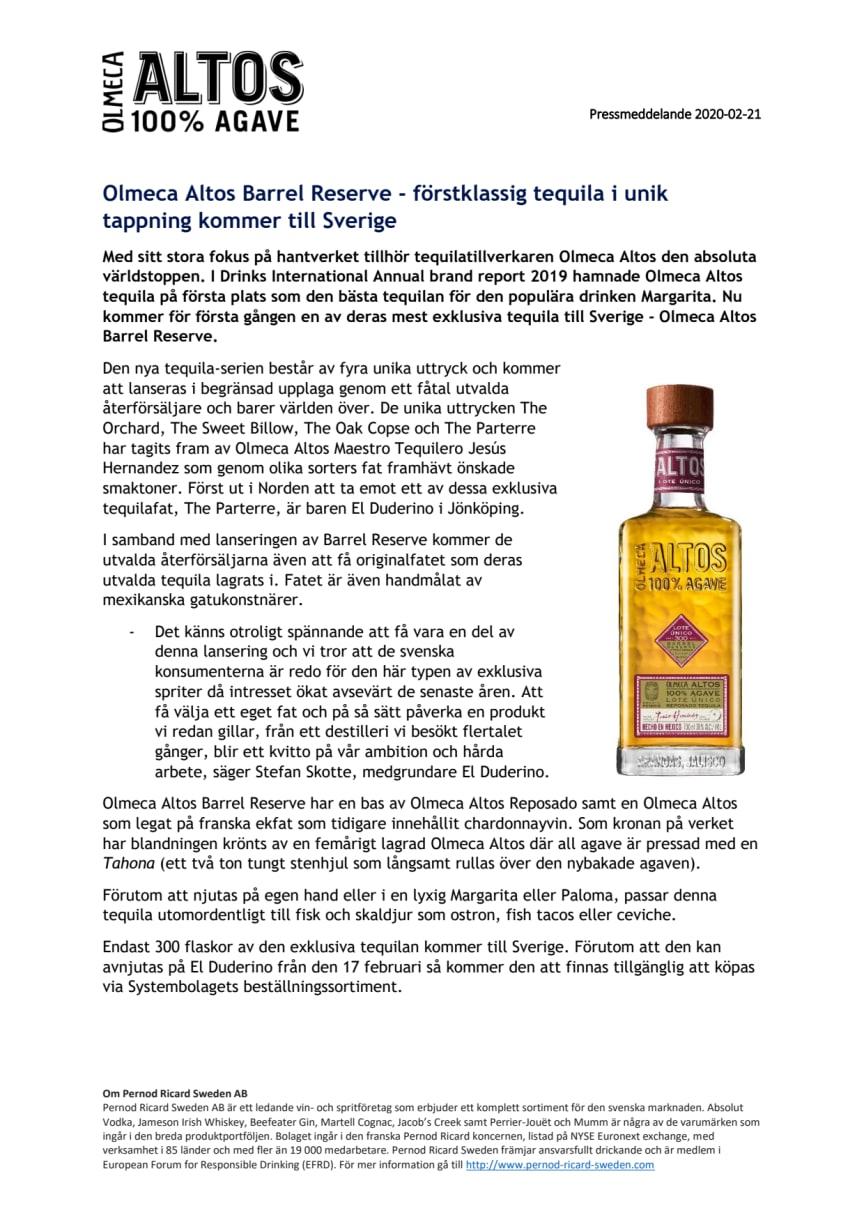 Olmeca Altos Barrel Reserve - förstklassig tequila i unik tappning kommer till Sverige