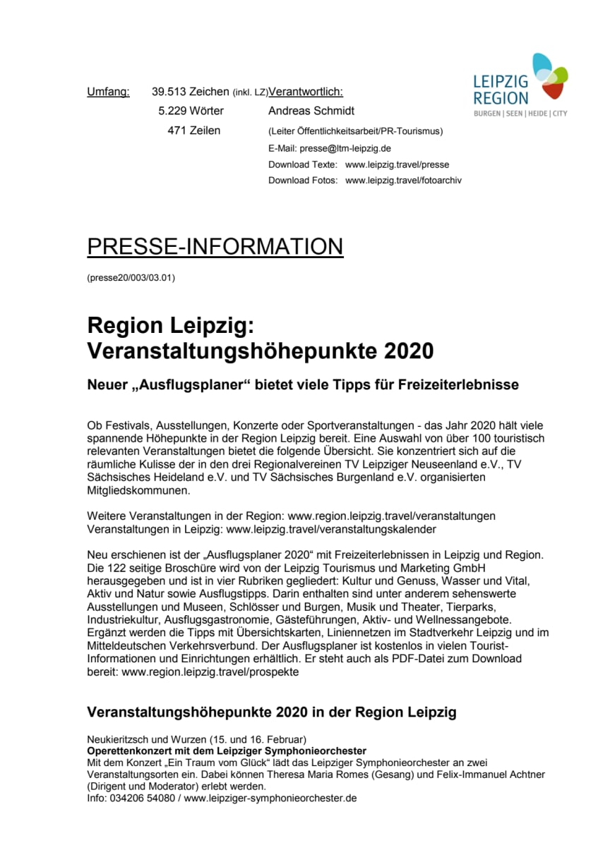 Leipzig Region: Veranstaltungshöhepunkte 2020