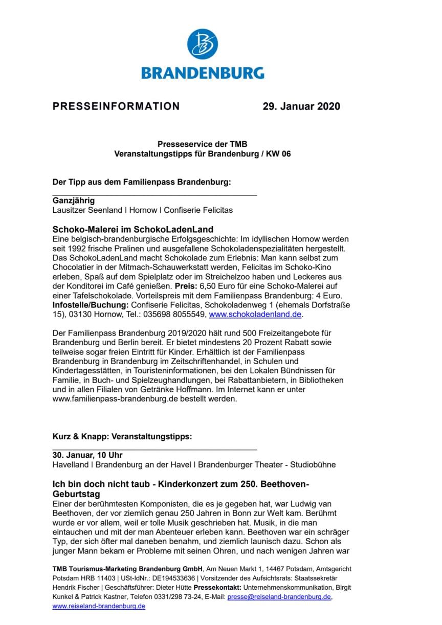 Veranstaltungstipps für Brandenburg / KW 06