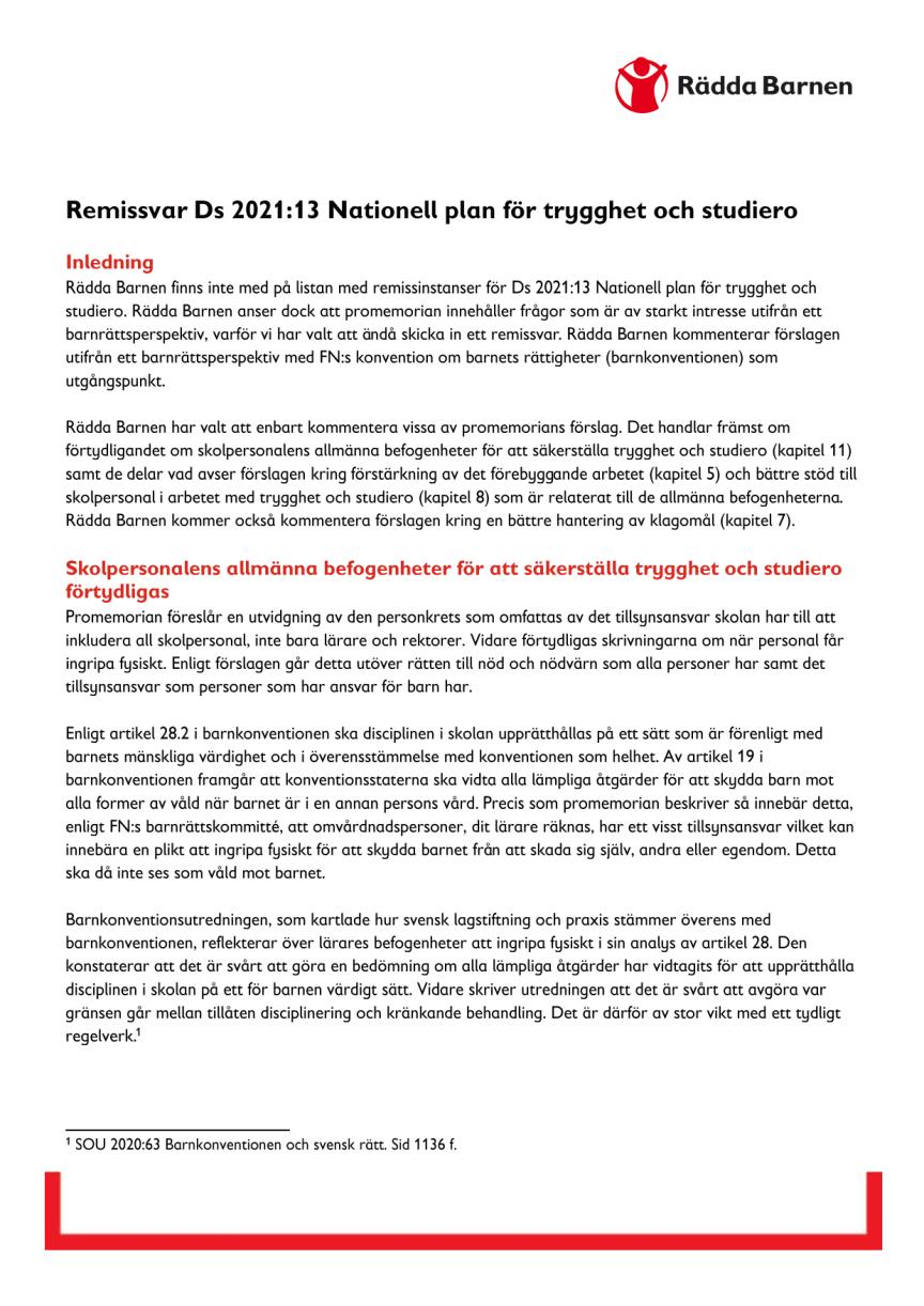 Remissvar Ds 2021 13 Nationell plan för trygghet och studiero.pdf