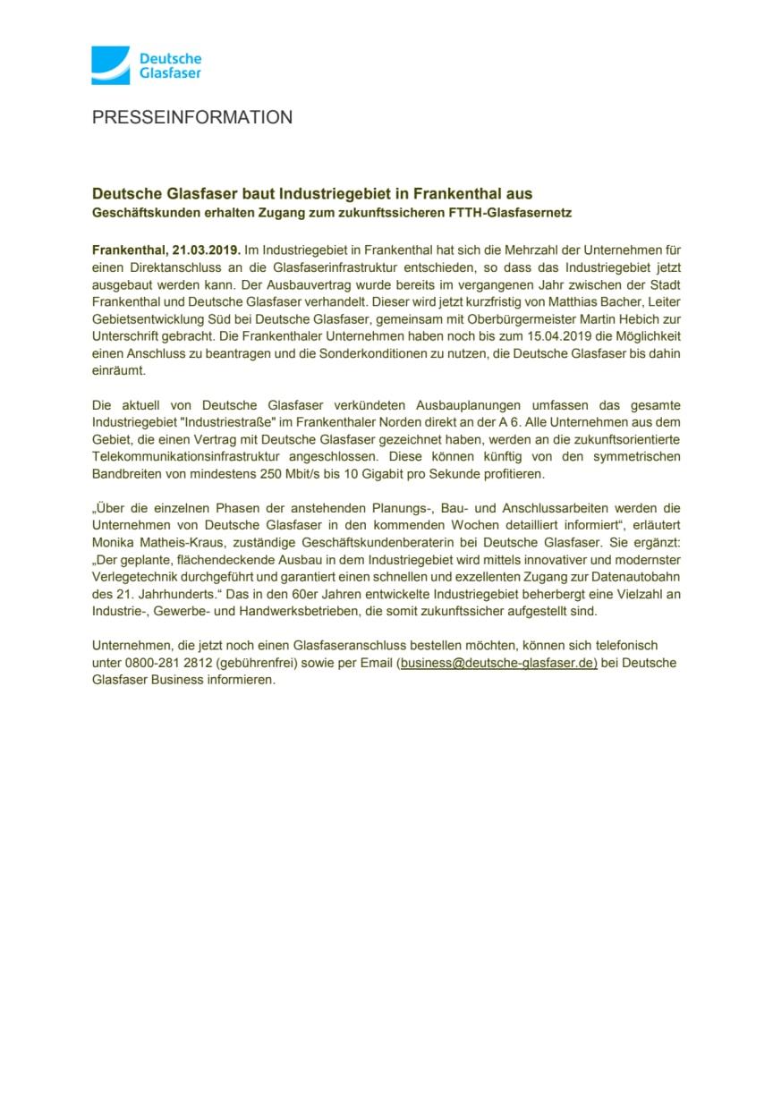 Deutsche Glasfaser baut Industriegebiet in Frankenthal aus