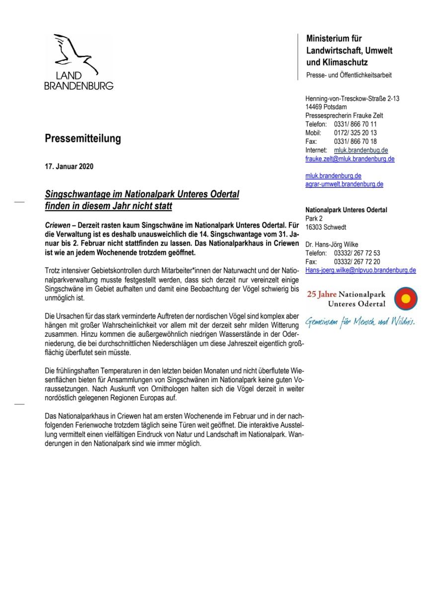 Singschwantage im Nationalpark Unteres Odertal finden in diesem Jahr nicht statt