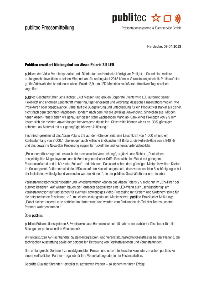 publitec erweitert Mietangebot um Absen Polaris 2.9 LED