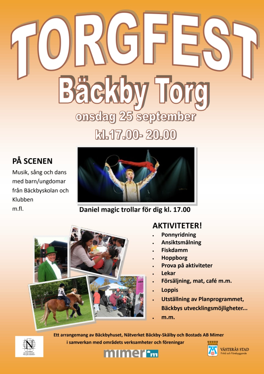 Torgfest på Bäckby 25 september 2013 – program