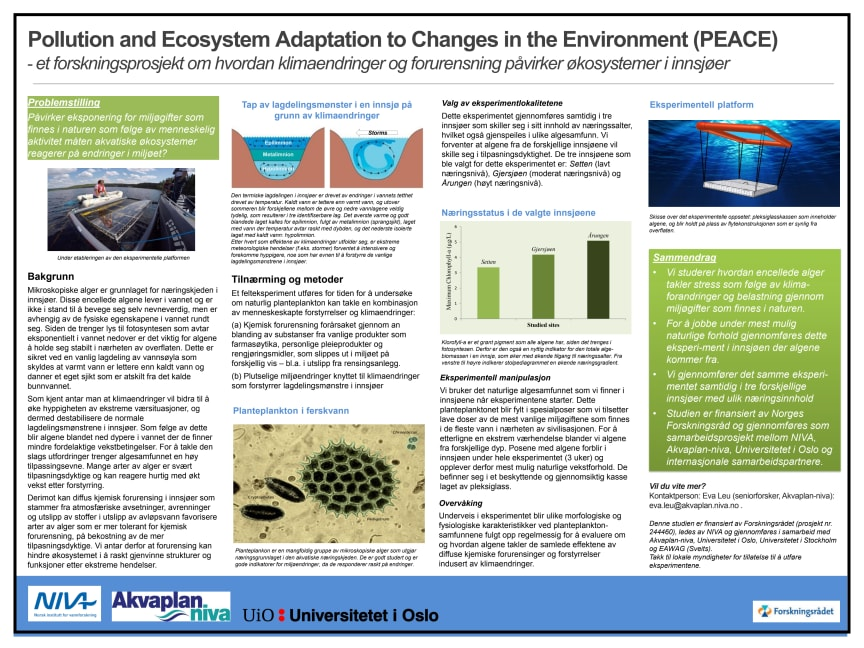 Pollution and Ecosystem Adaptation to Changes in the Environment (PEACE)