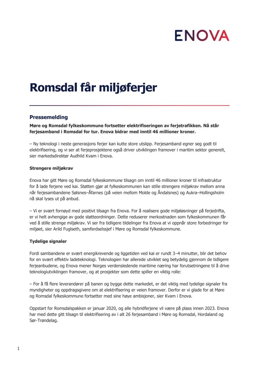 Romsdal får miljøferjer