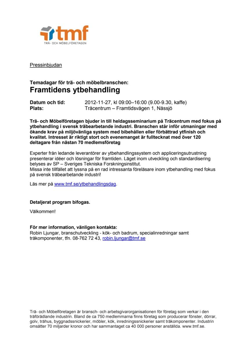 Pressinbjudan: Temadagar för trä- och möbelbranschen; Framtidens ytbehandling