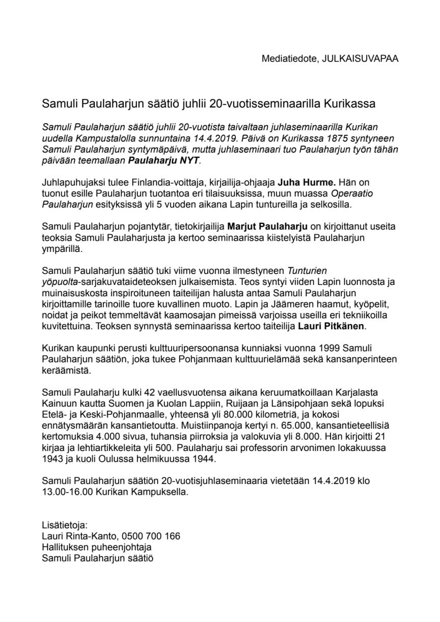 Samuli Paulaharjun säätiö juhlii 20-vuotisseminaarilla Kurikassa