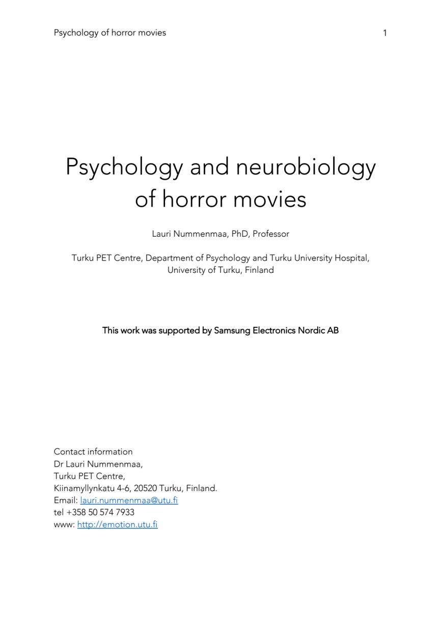 Rapport Psychology Of Horror