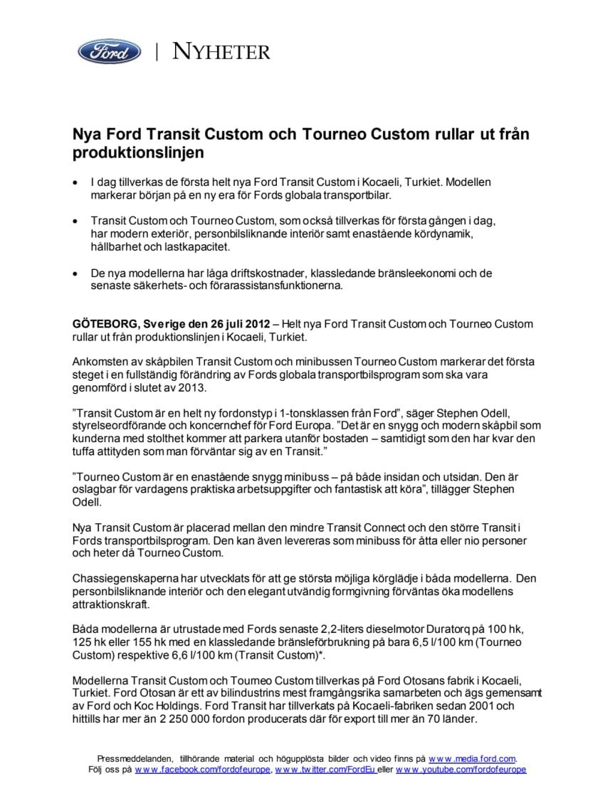 Nya Ford Transit Custom och Tourneo Custom rullar ut från produktionslinjen