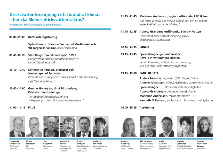 Program 14 februari Skånes dricksvattenförsörjning