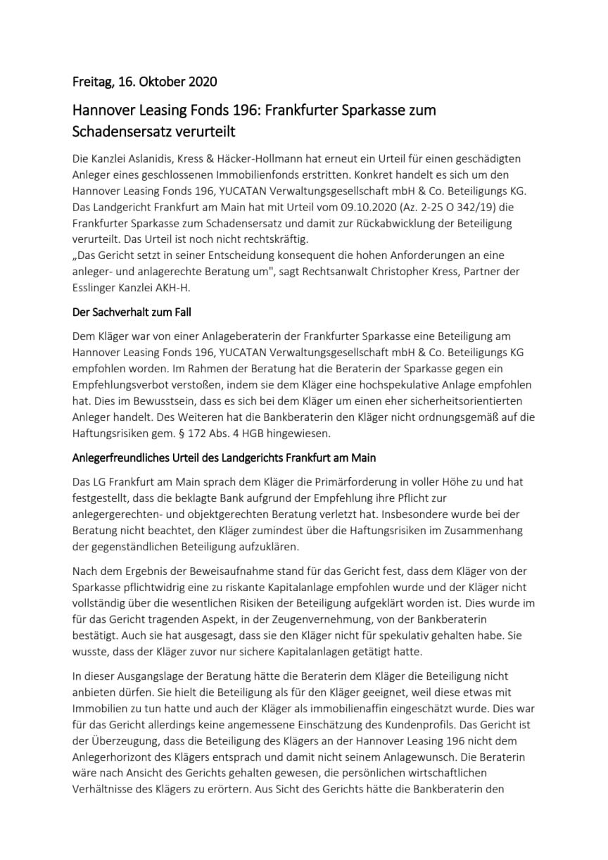Hannover Leasing Fonds 196: Frankfurter Sparkasse zum Schadensersatz verurteilt