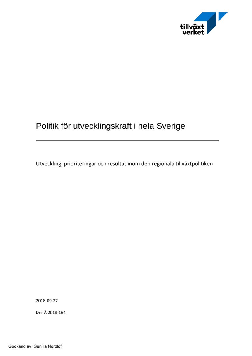 Politik för utvecklingskraft i hela Sverige
