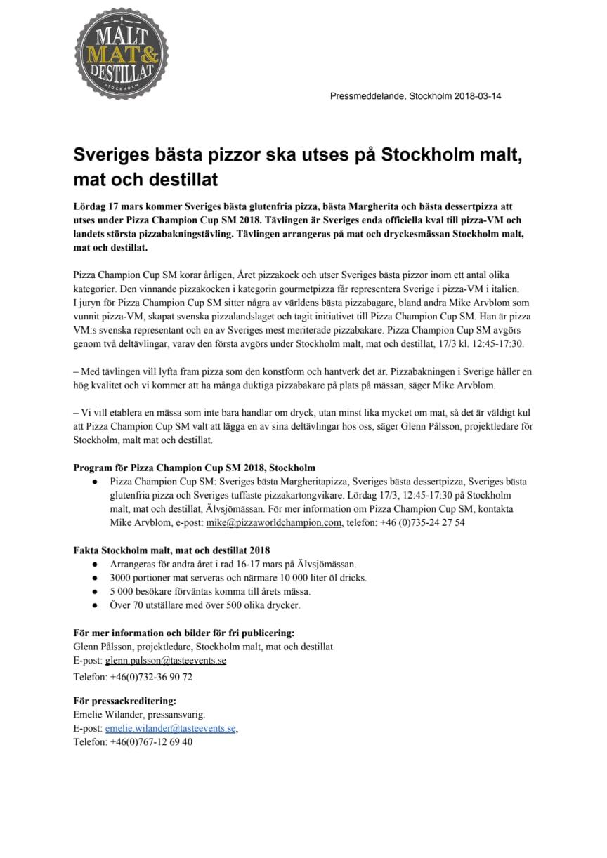 Sveriges bästa pizzor ska utses på Stockholm malt, mat och destillat