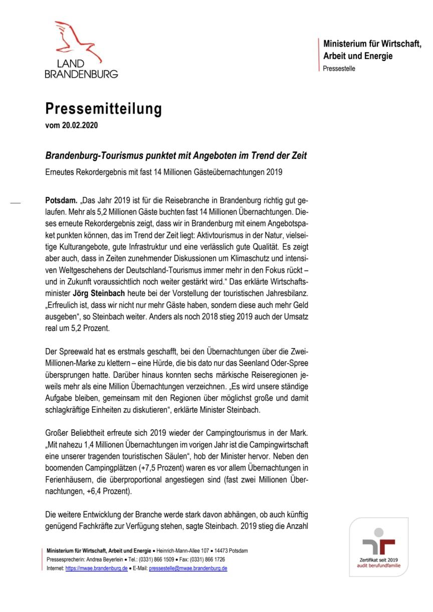 Brandenburg-Tourismus punktet mit Angeboten im Trend der Zeit