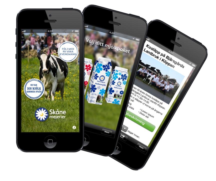 Skånemejeriers app för kosläpp och ursprungssökning