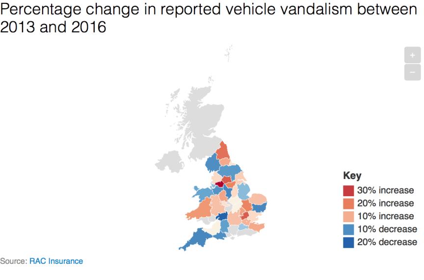 Percentage change in reported vehicle vandalism between 2013 and 2016
