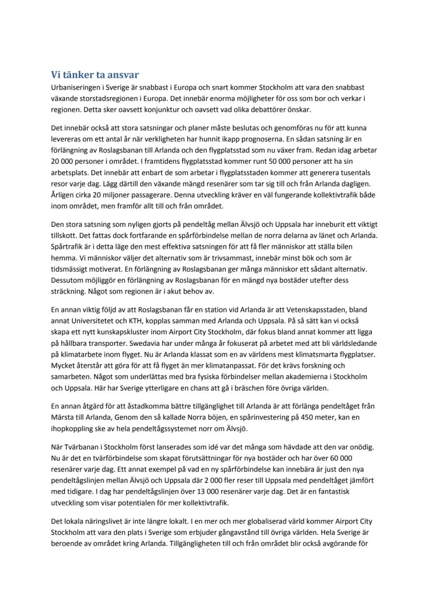 """""""Vi tänker ta ansvar"""" - Debattartikel publicerad på SvD Brännpunkt, den 2 juli 2013."""