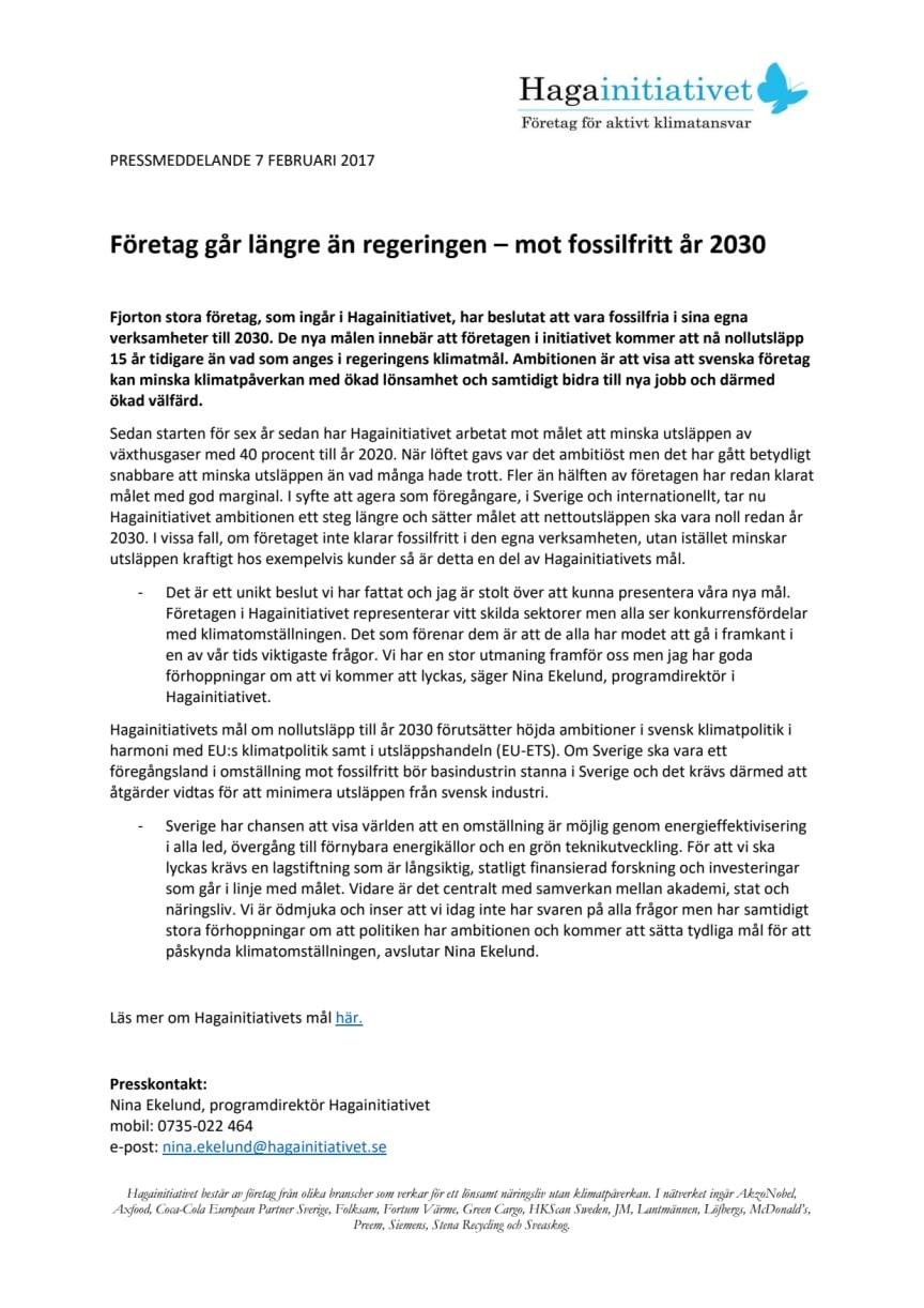 Företag går längre än regeringen – mot fossilfritt år 2030