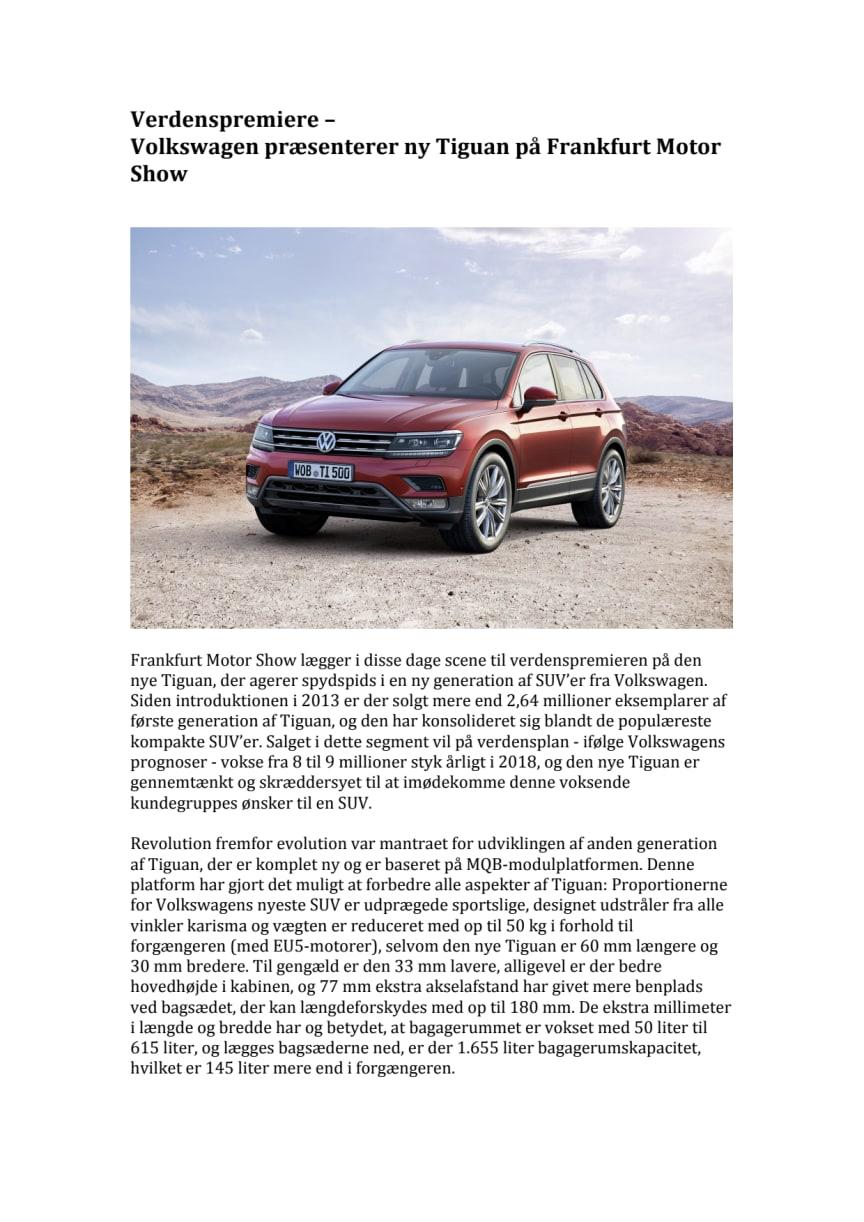 Verdenspremiere – Volkswagen præsenterer ny Tiguan på Frankfurt Motor Show