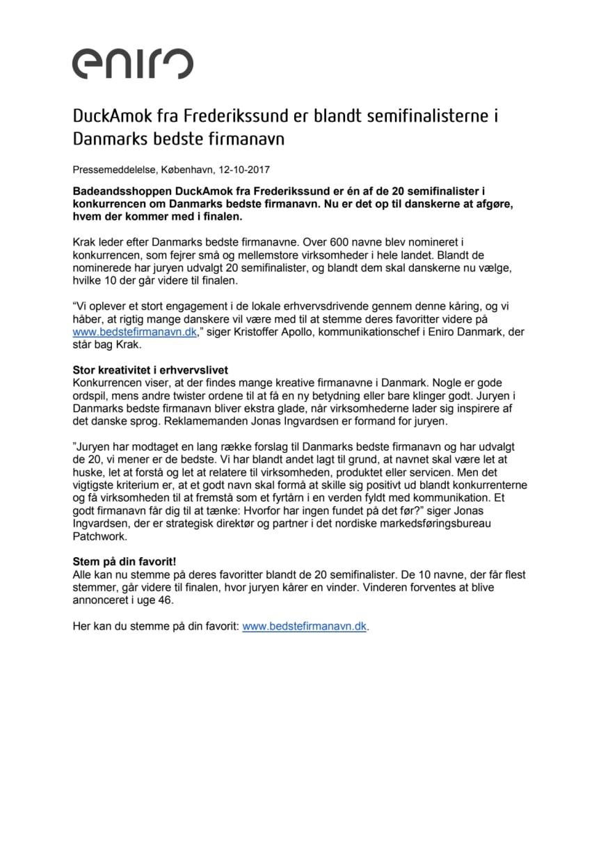 DuckAmok fra Frederikssund er blandt semifinalisterne i Danmarks bedste firmanavn