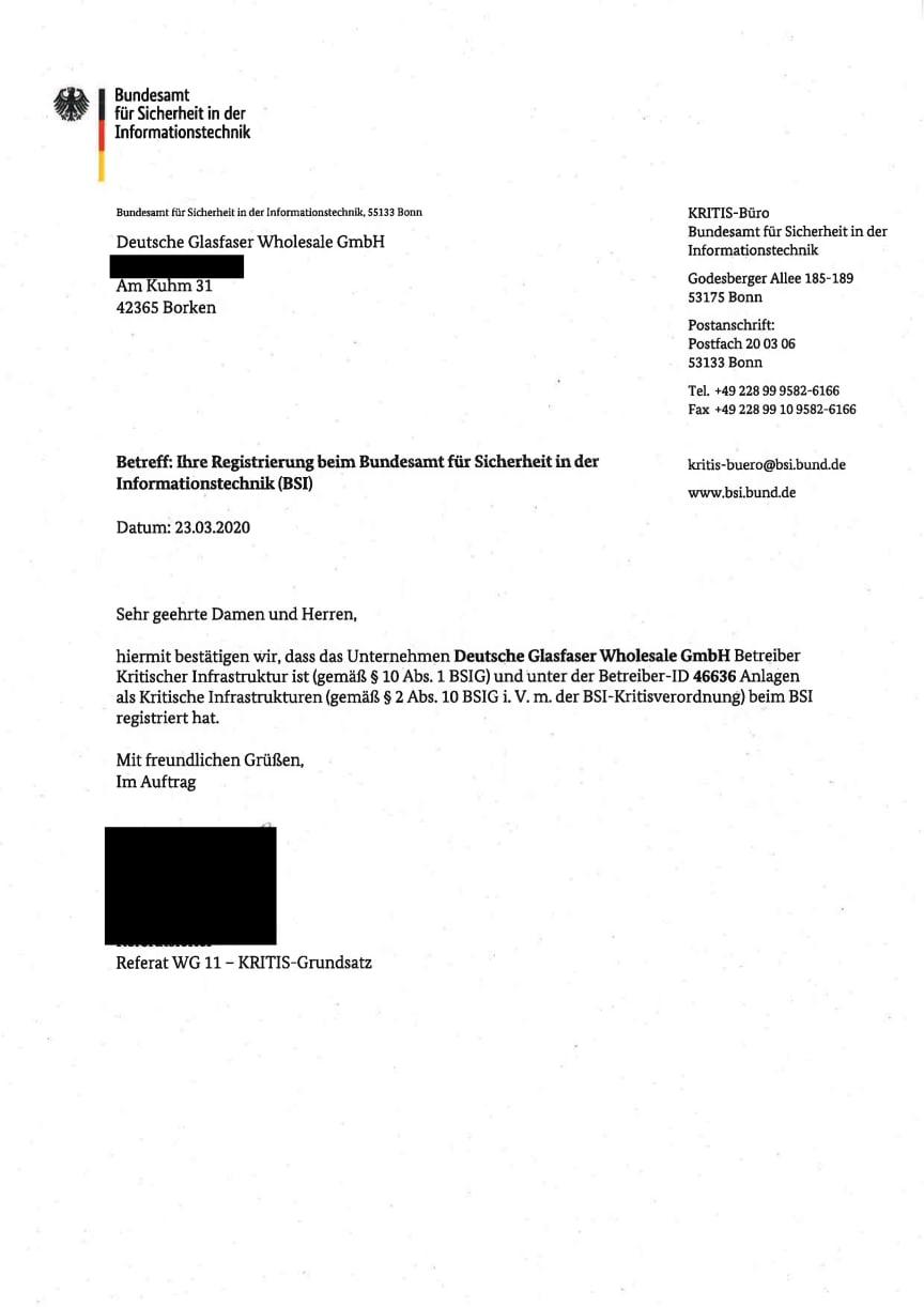 BSI Deutsche Glasfaser Betreiber kritischer Infrastruktur