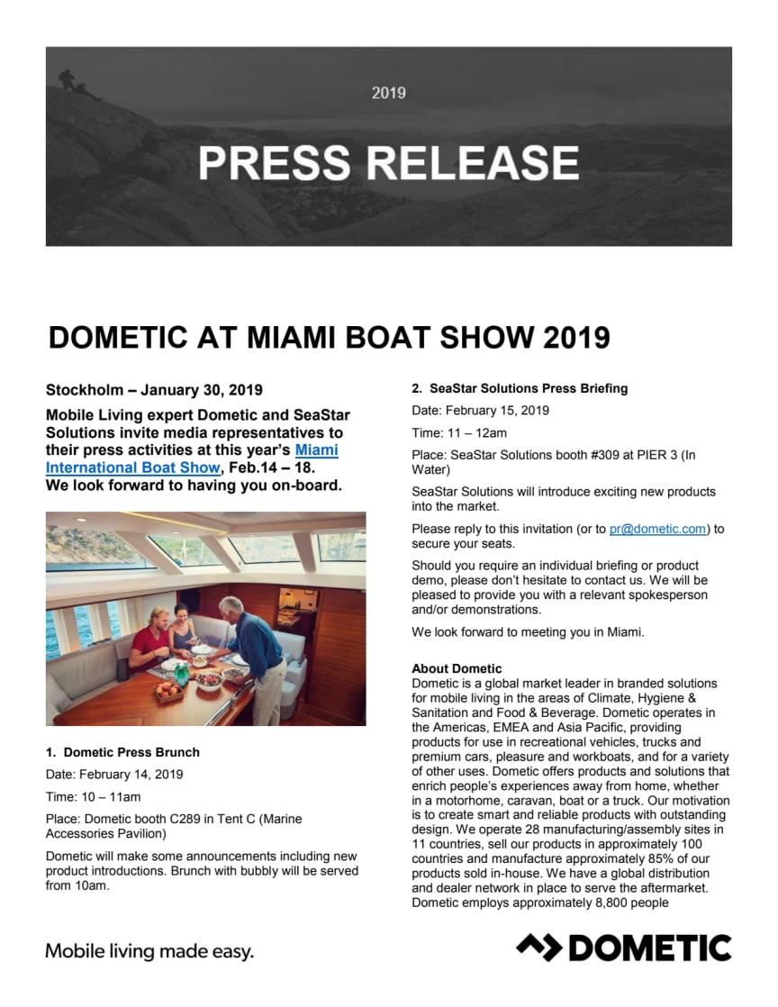 Dometic Press Brunch at Miami International Boat Show