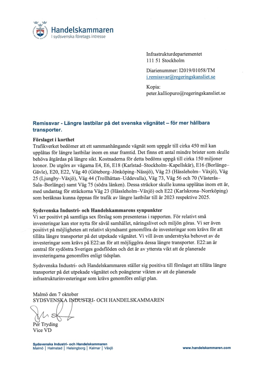 """Remissvar avseende """"Trafikverkets rapport. Längre lastbilar på det svenska vägnätet – för mer hållbara transporter"""""""