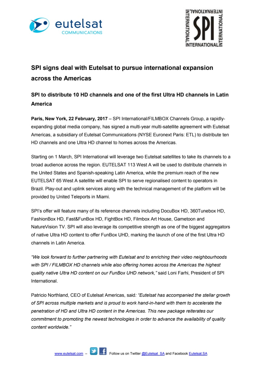 SPI signs deal with Eutelsat to pursue international expansion across the Americas