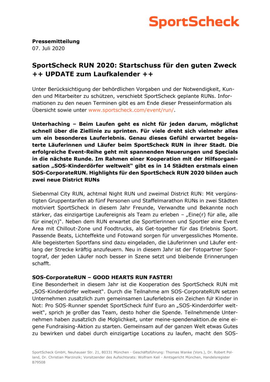 SportScheck RUN 2020 KickOff - UPDATE 07. Juli 2020