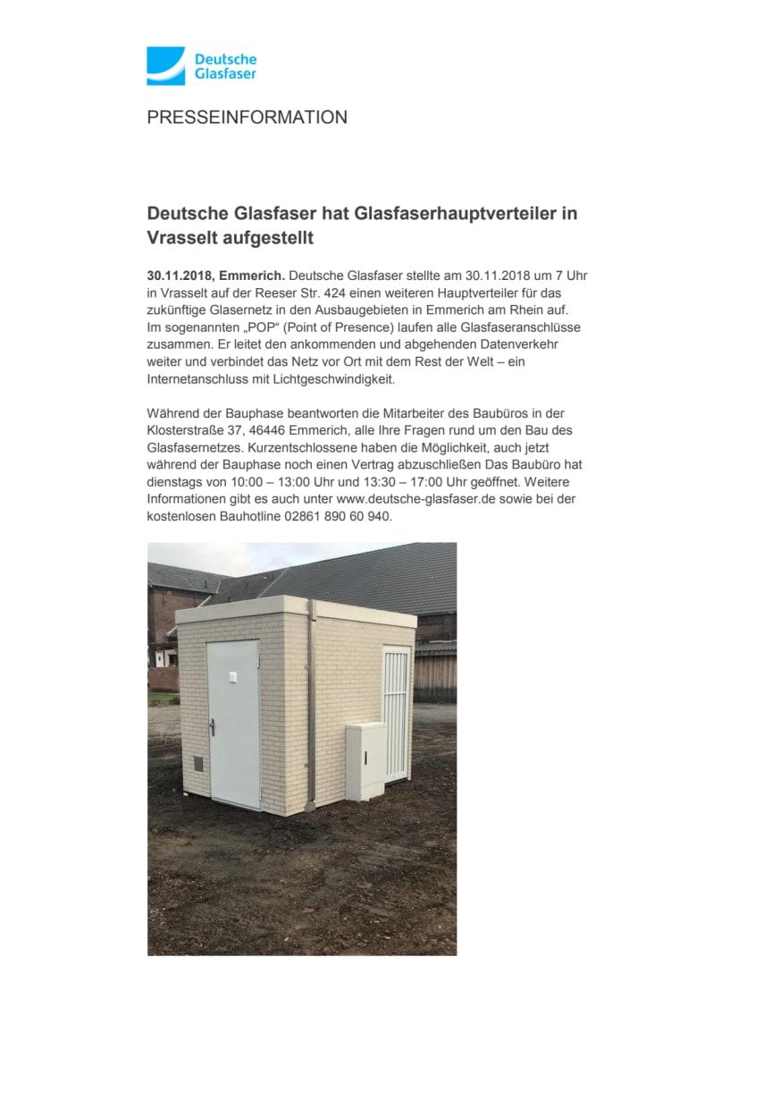 Deutsche Glasfaser hat Glasfaserhauptverteiler in Vrasselt aufgestellt