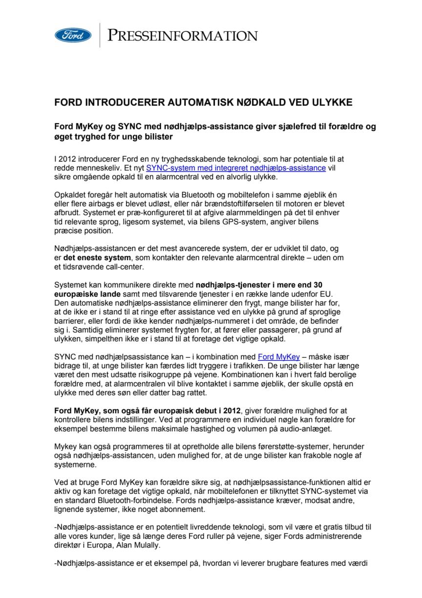 FORD INTRODUCERER AUTOMATISK NØDKALD VED ULYKKE