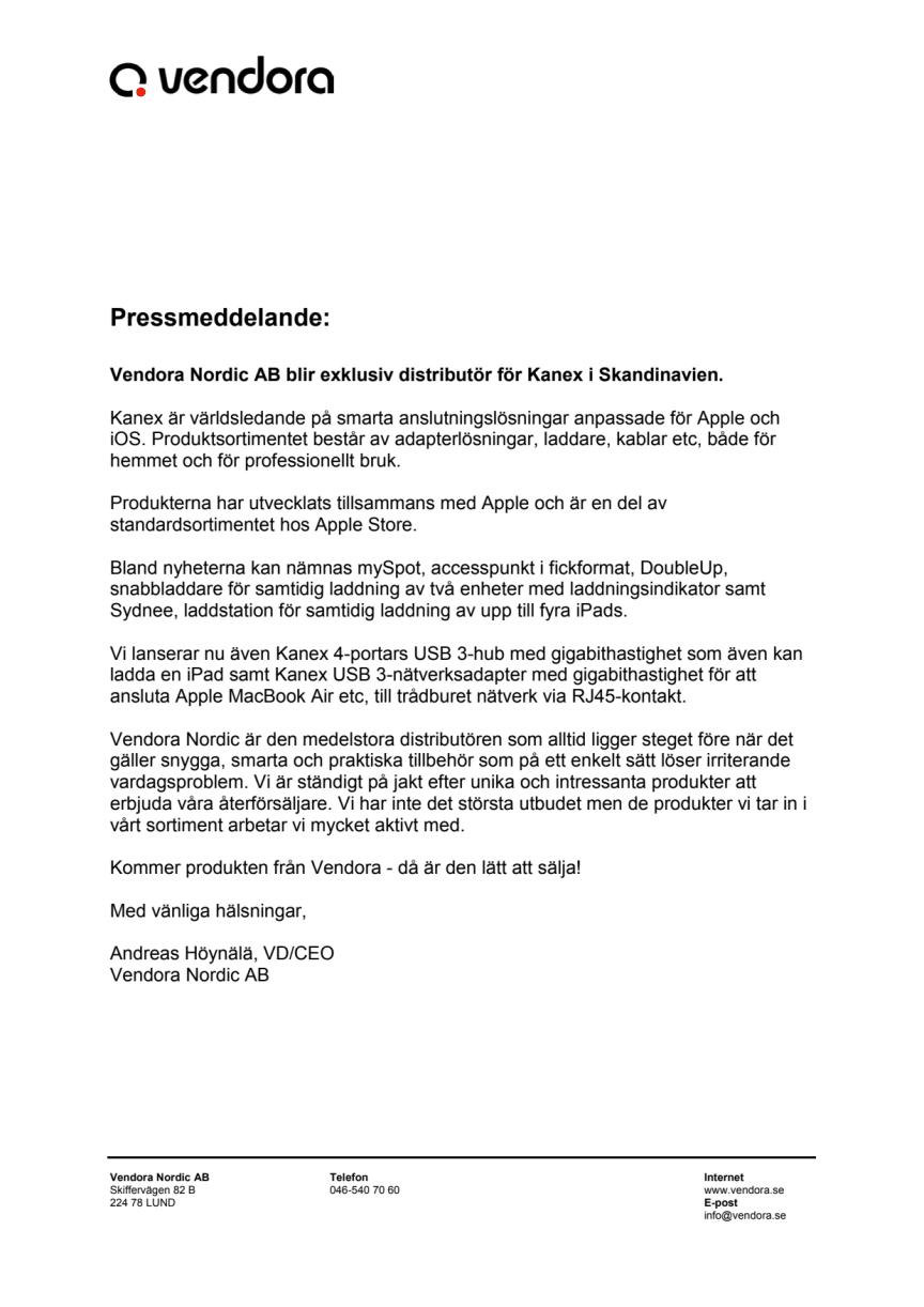 Vendora Nordic AB blir exklusiv distributör för Kanex i Skandinavien