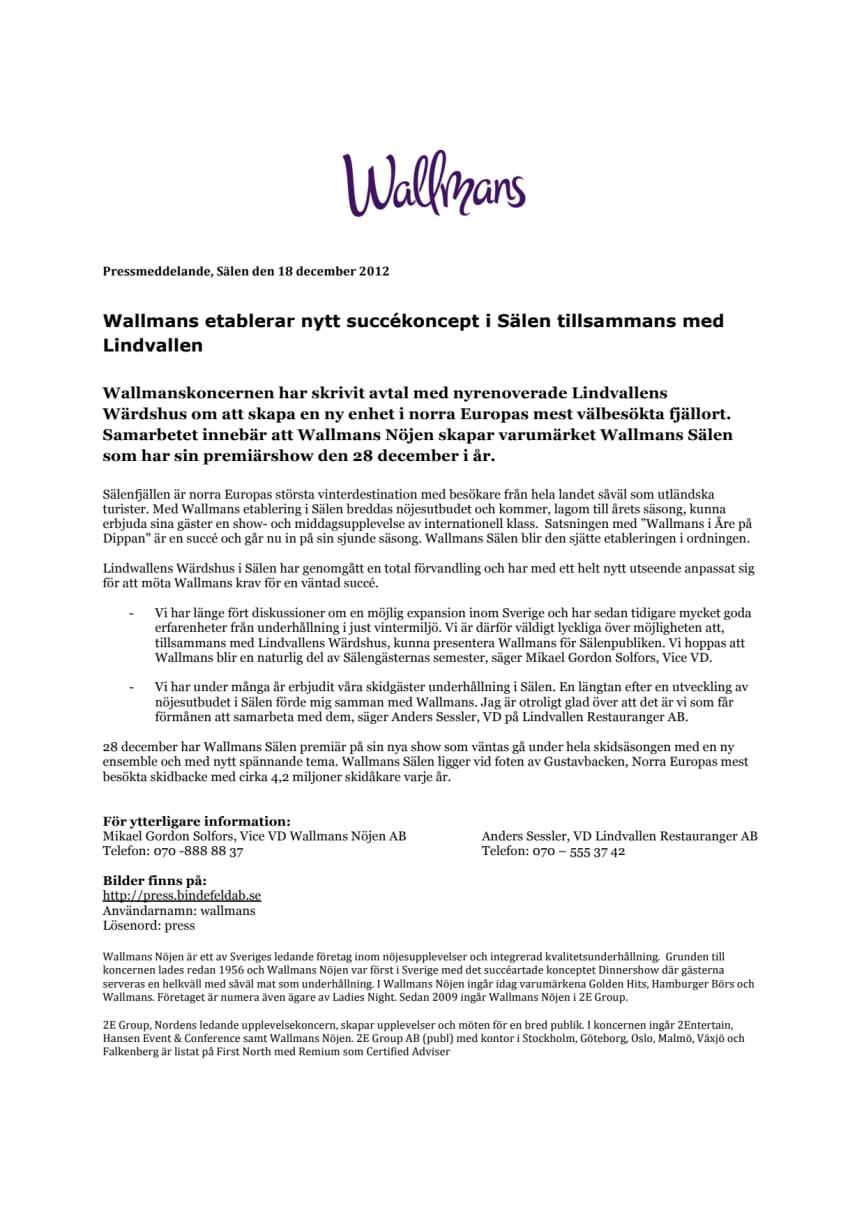 Wallmans etablerar nytt succékoncept i Sälen tillsammans med Lindvallen