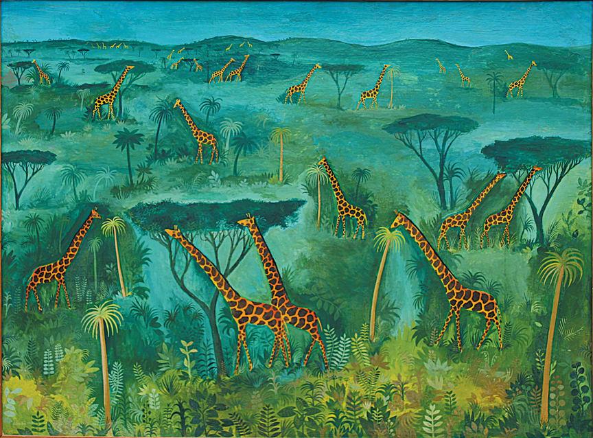 Hans Scherfig, Grøn savanne - 32 giraffer på grøn savanne, 1949. Privateje. Foto: LAMBERTHs Forlag