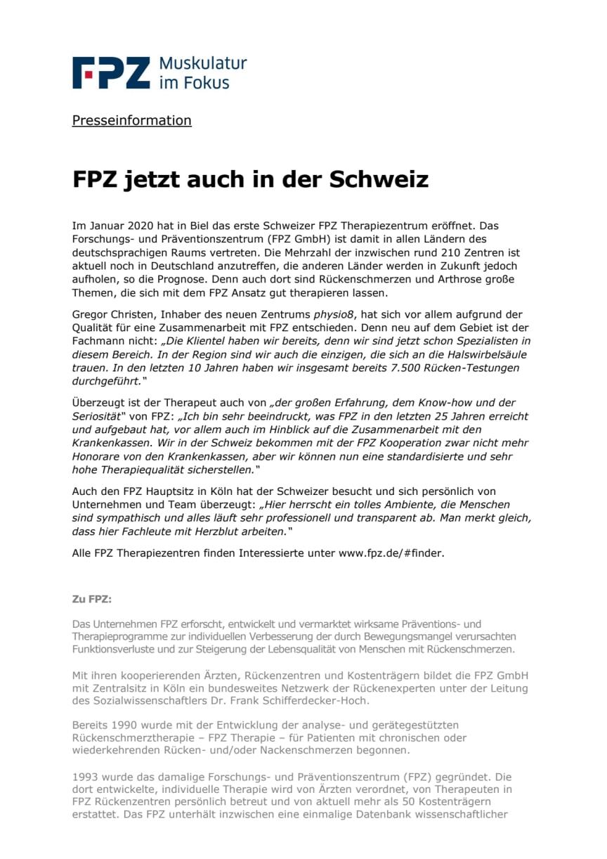 FPZ jetzt auch in der Schweiz